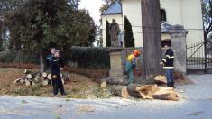 2015- Odklizení spadlé lípy u kostela a ořez pařezů